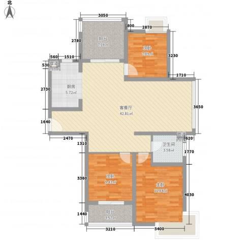 蓝天新苑3室1厅1卫0厨125.00㎡户型图