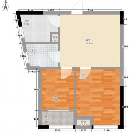 优活华庭2室1厅1卫1厨69.00㎡户型图