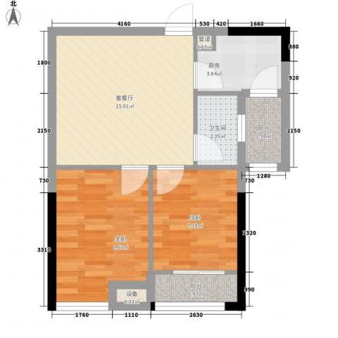 优活华庭2室1厅1卫1厨68.00㎡户型图