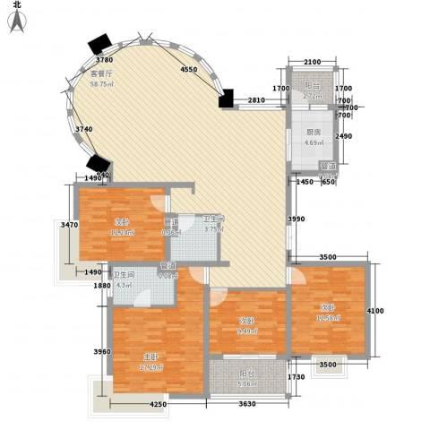 鹏欣丽都4室1厅2卫1厨185.00㎡户型图