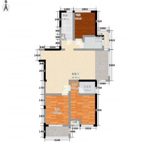 优活华庭3室1厅2卫1厨127.00㎡户型图