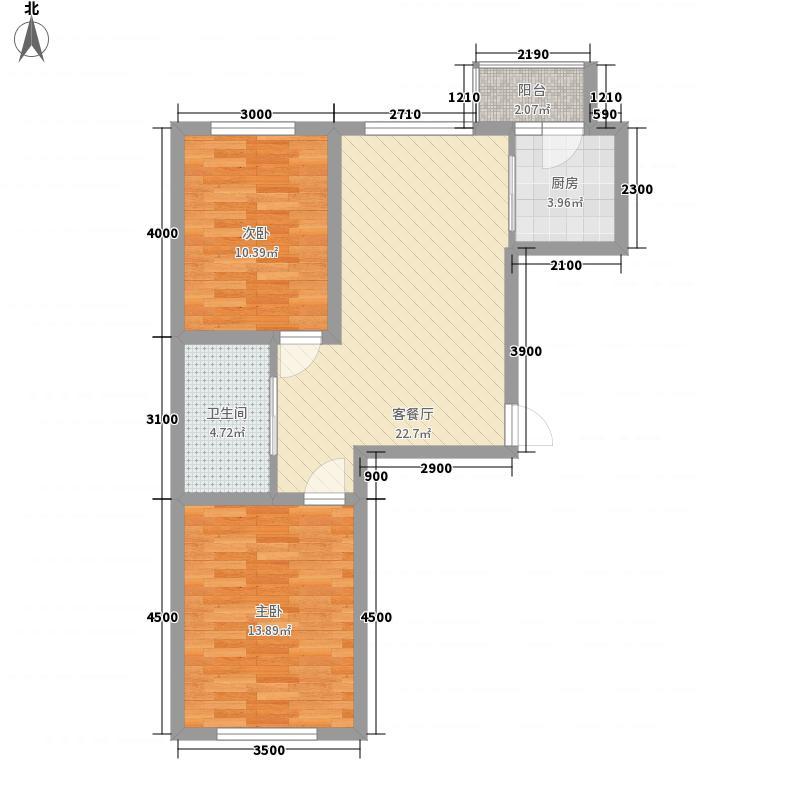 九新雾凇水岸8.20㎡g4户型2室2厅1卫