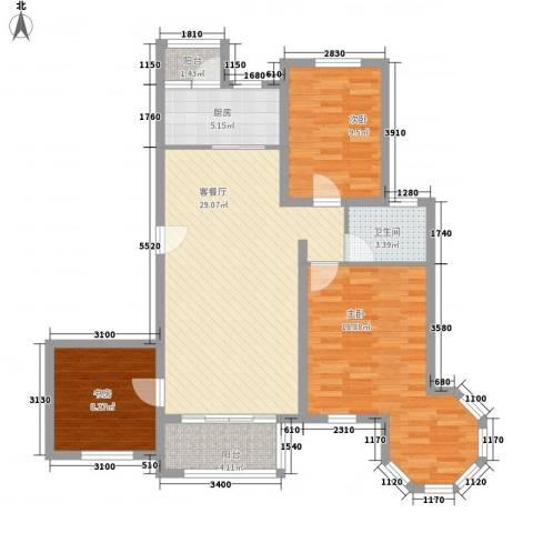 永裕枫景3室1厅1卫1厨117.00㎡户型图