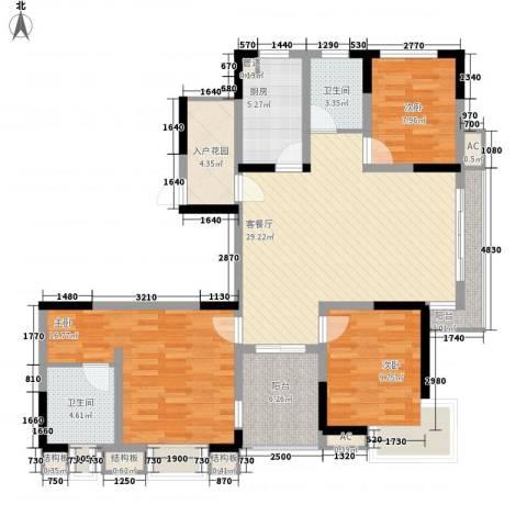 凯迪公元3室1厅2卫1厨136.00㎡户型图