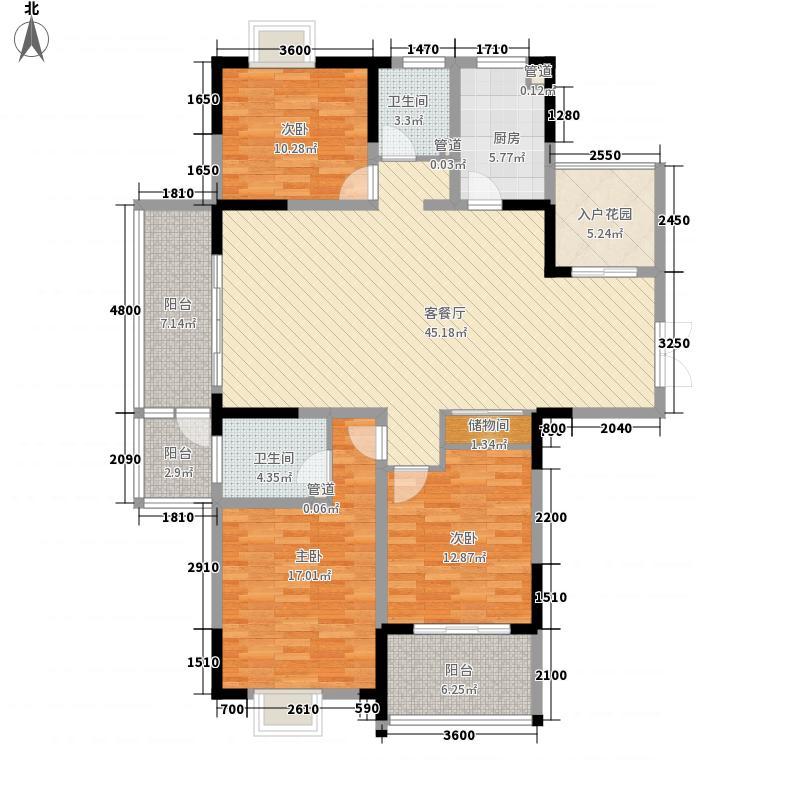 江雁依山郡146.00㎡二期16-19号楼标准层C1户型3室2厅2卫1厨