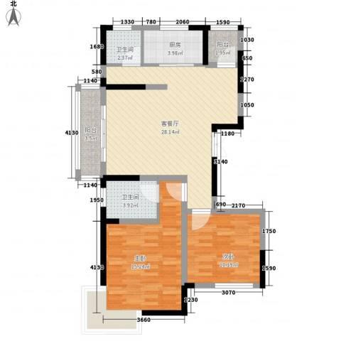 御源林城2室1厅2卫1厨100.00㎡户型图
