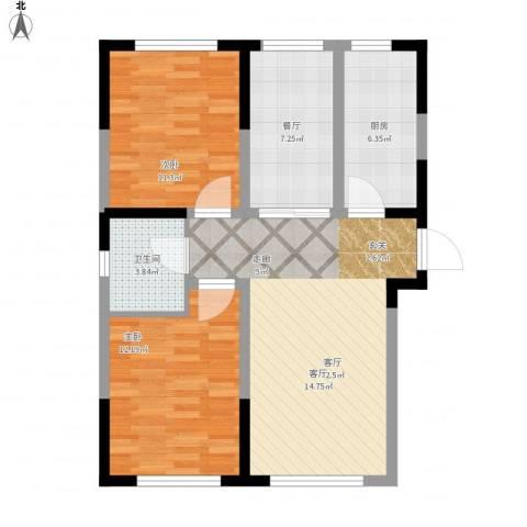 牡丹江国际花都2室2厅1卫1厨91.00㎡户型图