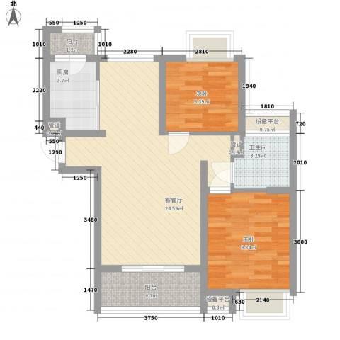 麓谷前堂2室1厅1卫1厨81.00㎡户型图