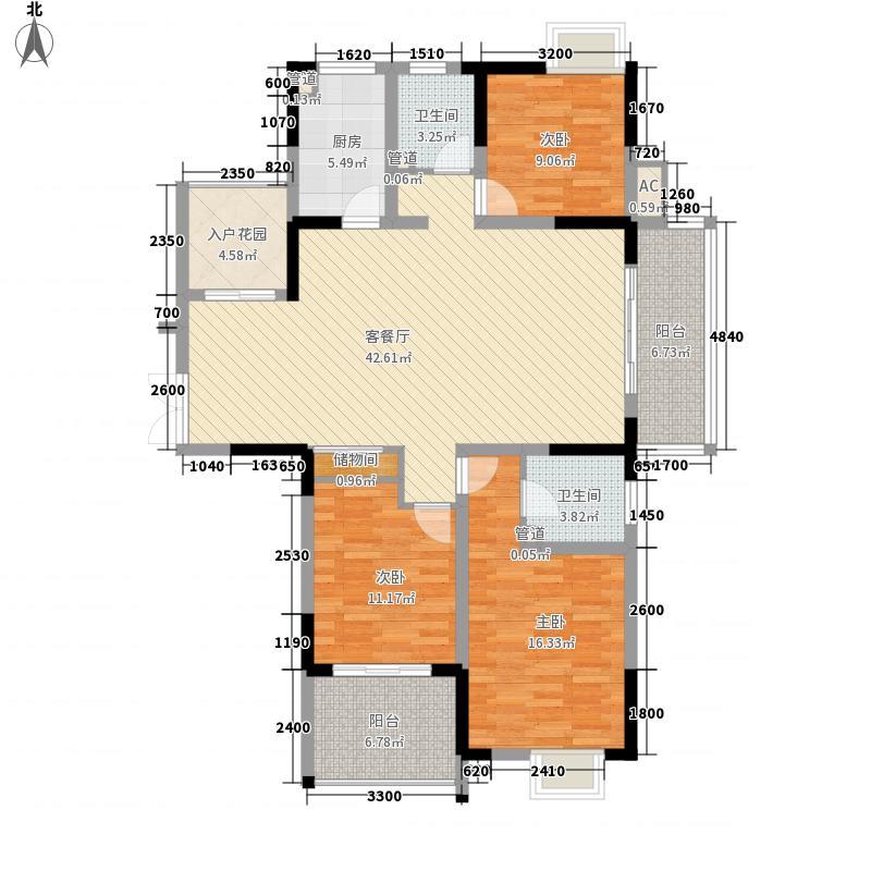 江雁依山郡135.00㎡二期20号楼标准层F2户型3室2厅2卫1厨