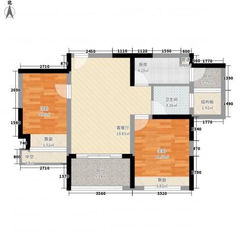 凯迪公元2室1厅1卫1厨88.00㎡户型图