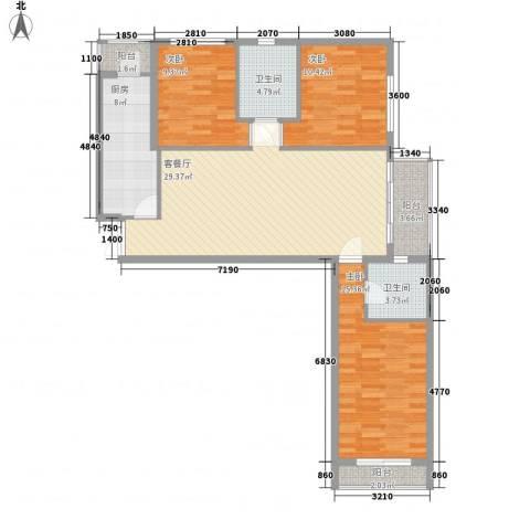 东方剑桥3室1厅2卫1厨125.00㎡户型图
