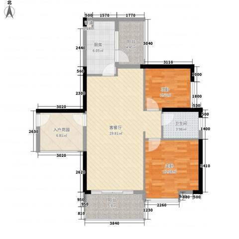可逸家园2室1厅1卫1厨108.00㎡户型图