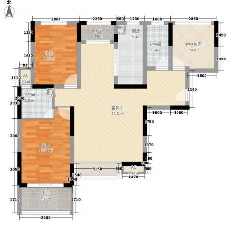 凯迪公元2室1厅2卫1厨119.00㎡户型图