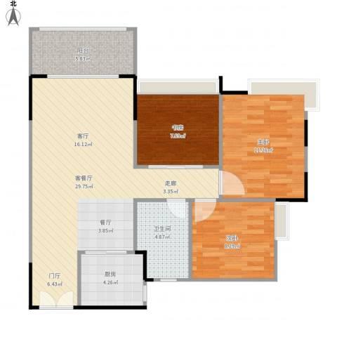 锦绣名庭3室1厅1卫1厨97.00㎡户型图
