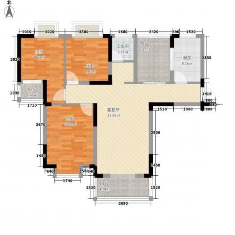 御源林城3室1厅1卫1厨117.00㎡户型图