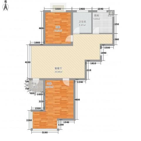 紫郡城2室1厅1卫1厨95.00㎡户型图