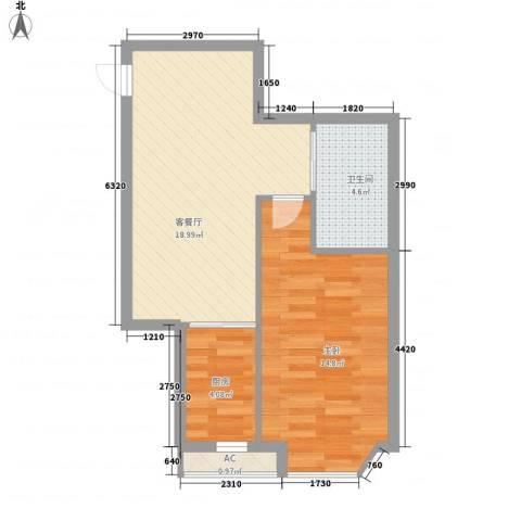 世豪领秀1室1厅1卫1厨61.00㎡户型图