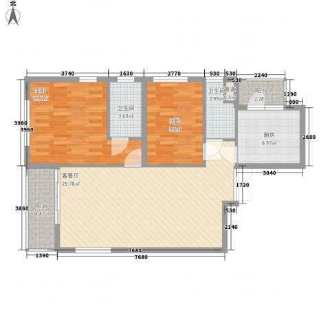 东方剑桥2室1厅2卫1厨107.00㎡户型图