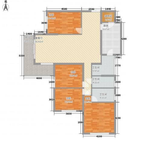 东方剑桥4室1厅3卫1厨183.00㎡户型图