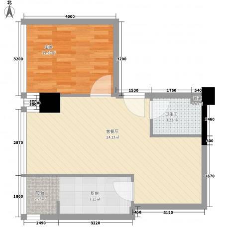 海�蓝寓1室1厅1卫1厨63.00㎡户型图