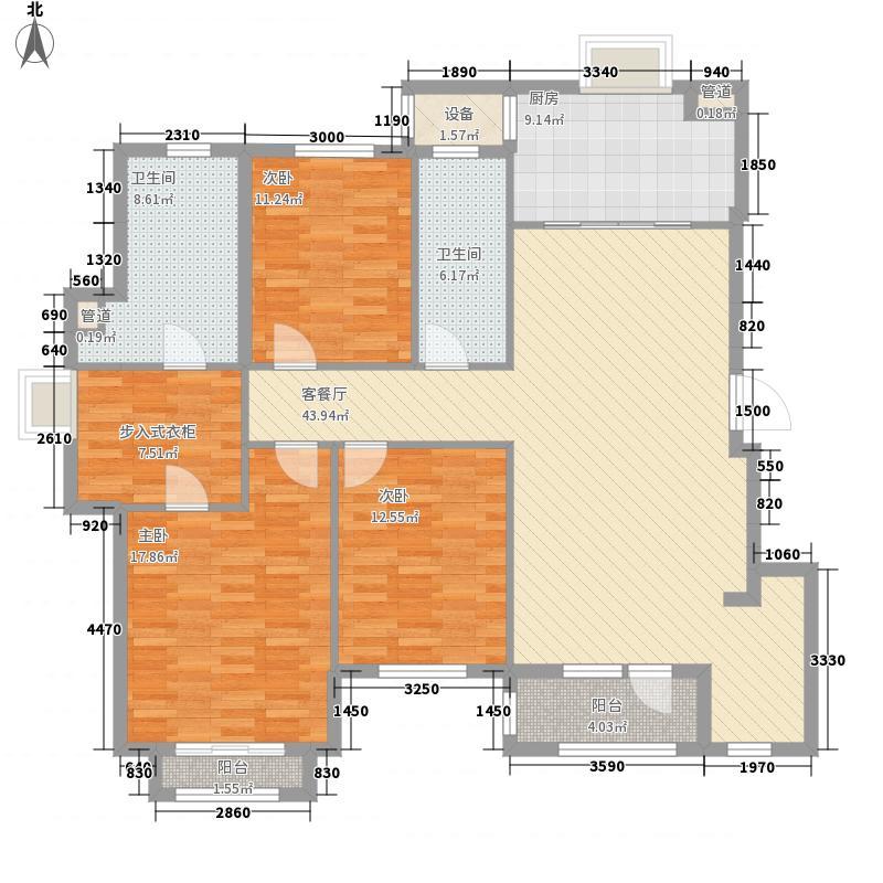 春田156.00㎡春田户型图馥园8号楼A户型3室2厅2卫1厨户型3室2厅2卫1厨