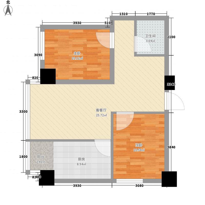 海�蓝寓83.42㎡M户型2室2厅1卫1厨