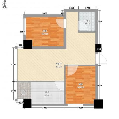 海�蓝寓2室1厅1卫1厨83.00㎡户型图