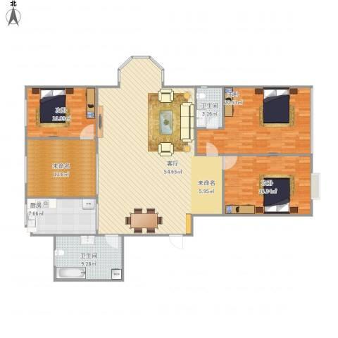 德胜凯旋花园3室1厅2卫1厨179.00㎡户型图
