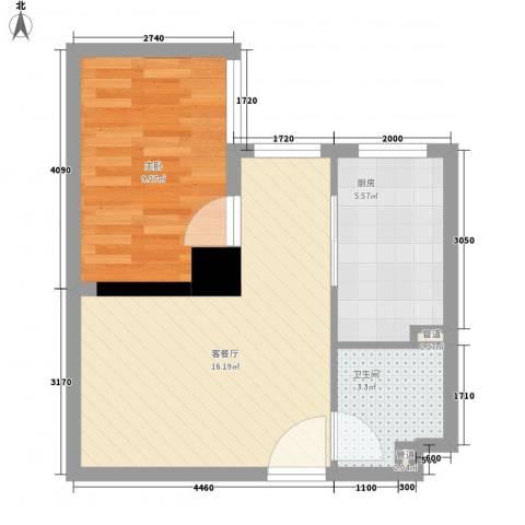 海�蓝寓1室1厅1卫1厨51.00㎡户型图