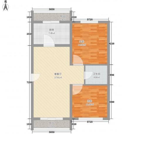 项家花苑2室1厅1卫1厨100.00㎡户型图