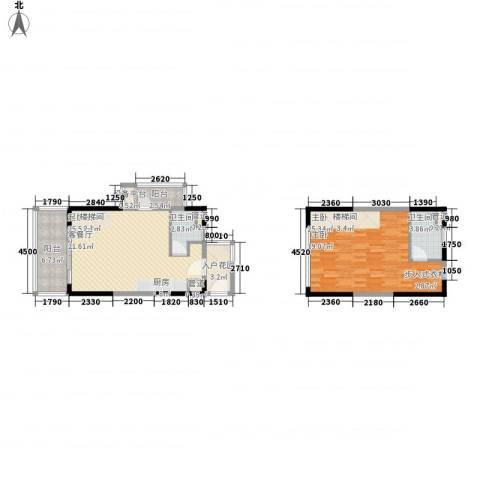 华润小径湾1室0厅2卫0厨71.28㎡户型图