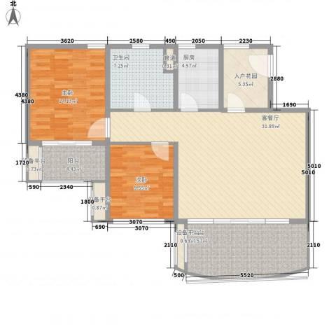 华润小径湾2室1厅1卫1厨113.00㎡户型图