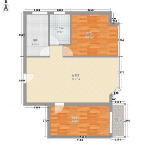 瑞升花园2室1厅1卫1厨84.00㎡户型图