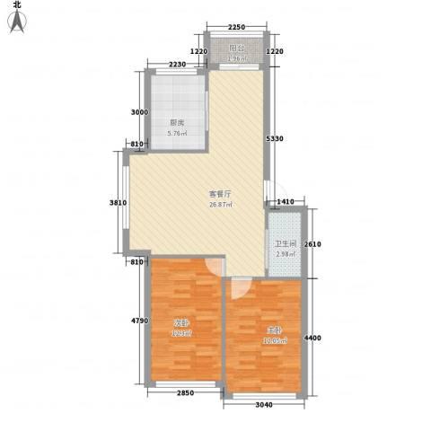 公园大厦2室1厅1卫1厨87.00㎡户型图