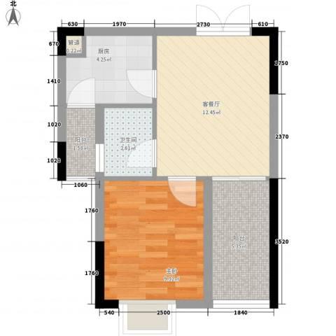 红海名仕公馆1室1厅1卫1厨49.00㎡户型图