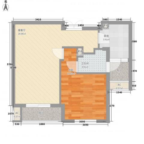 金都九月洋房朗轩1室1厅1卫1厨62.00㎡户型图