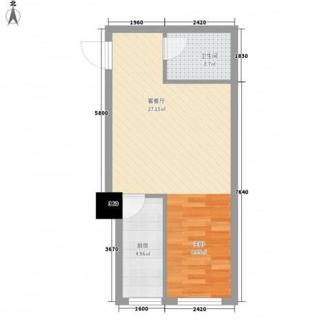 海�蓝寓1厅1卫1厨53.00㎡户型图