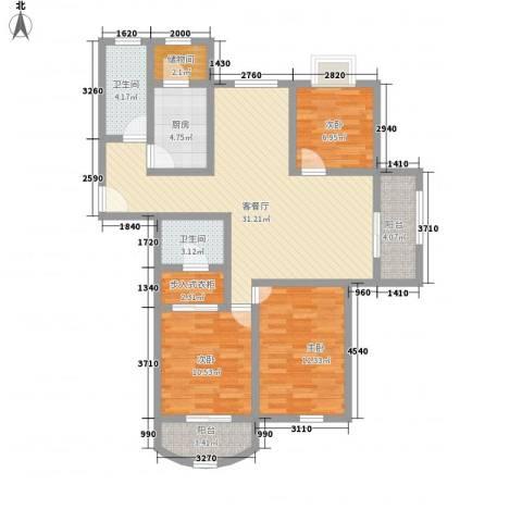 精文城上城3室1厅2卫1厨126.00㎡户型图
