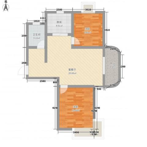 逸景湾2室1厅1卫1厨86.00㎡户型图