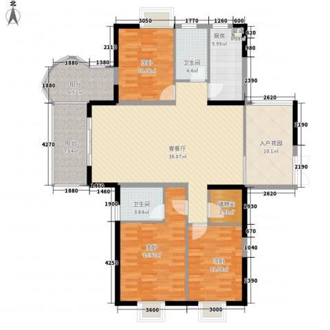 红海名仕公馆3室1厅2卫1厨135.00㎡户型图