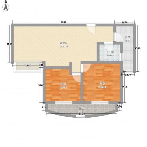 精文城上城2室1厅1卫1厨95.00㎡户型图