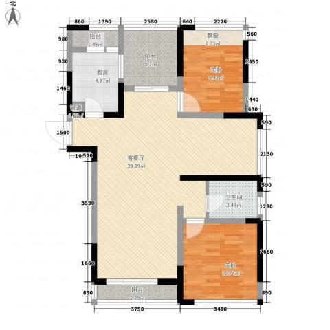 莱茵花苑2室1厅1卫1厨111.00㎡户型图