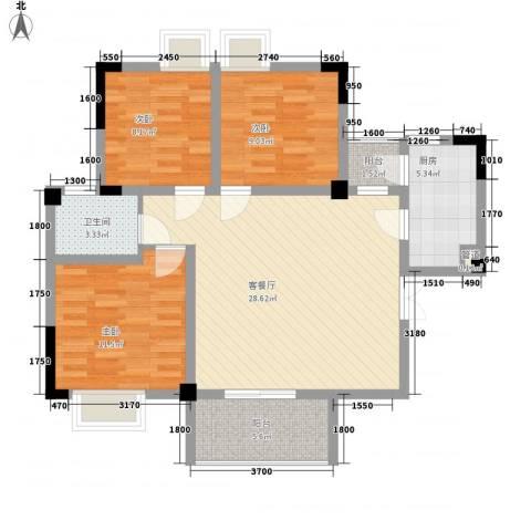银领时代3室1厅1卫1厨98.00㎡户型图