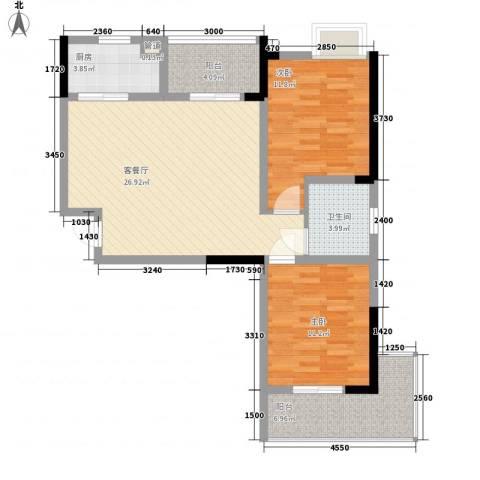 银领时代2室1厅1卫1厨88.00㎡户型图