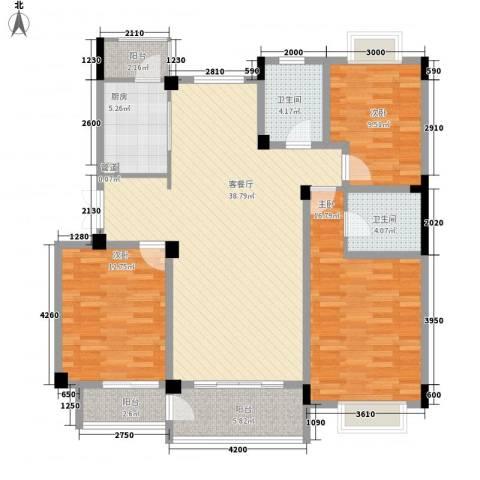 金色新城熙园3室1厅2卫1厨122.00㎡户型图