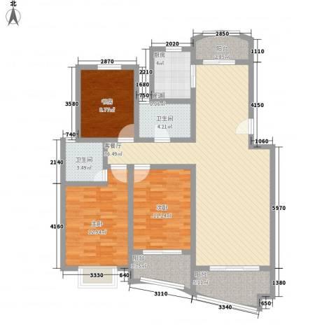 景城名轩3室1厅2卫1厨136.00㎡户型图