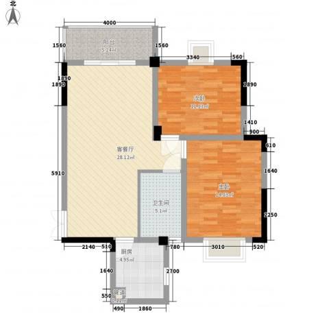 银领时代2室1厅1卫1厨92.00㎡户型图