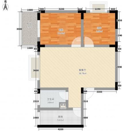 黄金时代2室1厅1卫1厨89.00㎡户型图
