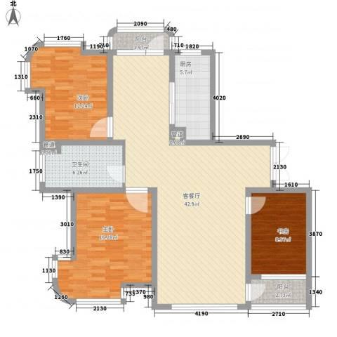 运达嘉洲阳光3室1厅1卫1厨141.00㎡户型图