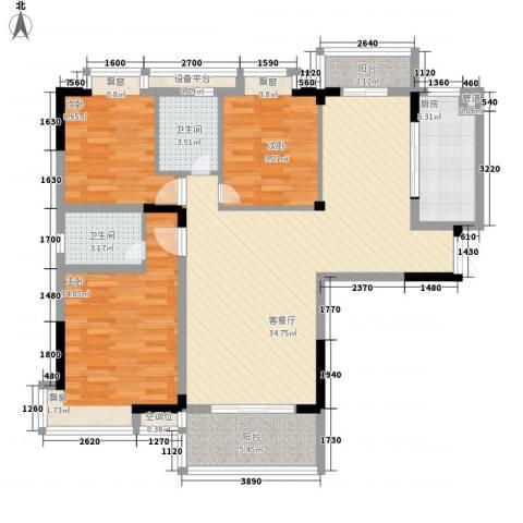 万达星城3室1厅2卫1厨129.00㎡户型图